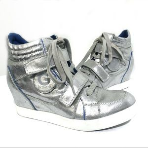 GUESS Wedge Silver Sneakers- 9M